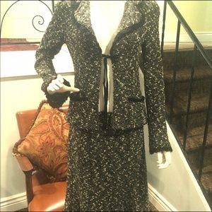 Nanette Lepore  Black White Tweed Jacket/Skirt Set